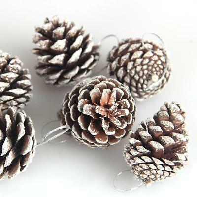 12PCS Natural Pine Cone Christmas Tree Hanging Ornaments Xmas Home Decoration US