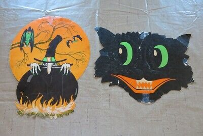 Vintage 60's Halloween cat face witch with Calderon die cut decorations Beistle