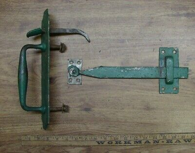 """Huge Antique Thumb Latch,12-1/16"""",Green Paint,Cool Item,Potting Shed,Barn Door"""