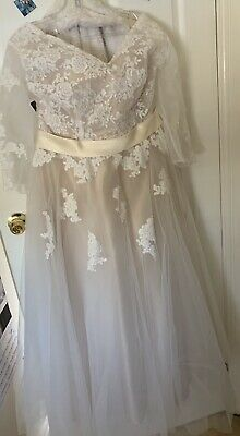 Never Worn Custom Made A-Line Wedding Dress Size 16 Champagne With Sleeves