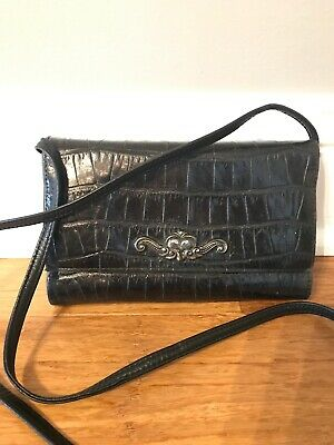 Brighton Womens Black Leather Croc Crossbody Wallet Organizer Shoulder Handbag
