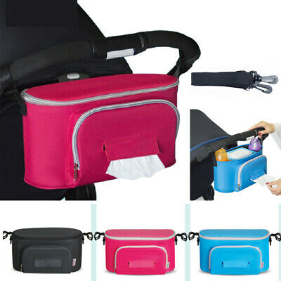 Baby Pram Stroller Pushchair Safe Console Tray Cup Holder Storage Hanging Bag