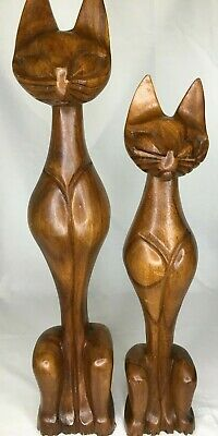 """2 VINTAGE HAND CARVED SOLID WOOD CAT 21"""" and 18"""" STATUES"""