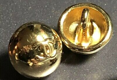 "Chanel CC logo button 100% Auth small 10mm .38"" gold Replacement Set Of 10"