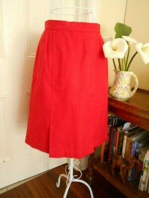 Vintage Red Pure New Wool Skirt By Sportscraft