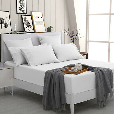 500TC Cotton Fitted Sheet Set Standard Euro King Pillowcases Queen Double Single