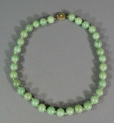 1930 China Export Natural Jade Jadeite Beads Necklace Choker w/Gold Silver Clasp