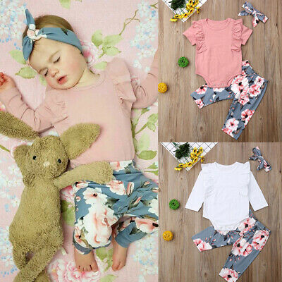 Cute Newborn Toddler Baby Girls Flower Top Romper Long Pants Outfits Clothes New