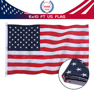 6x 10 Ft 420D Polyester American Flag Embroidered Stars& Brass Grommets USA Flag