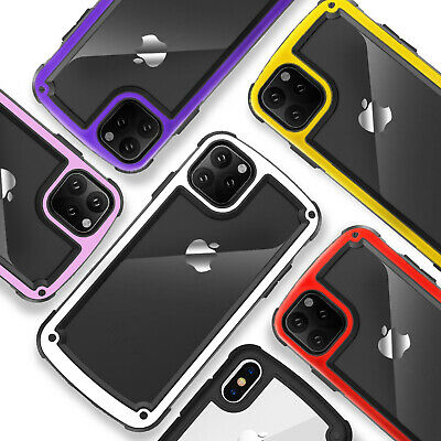 For Apple iPhone 11/Pro/Max Case TransparentClearPC+TPUBumper +Tempered Glass