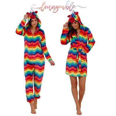 Loungeable Womens 3D Bright Rainbow Unicorn All In One Or Robe Fleece Nightwear