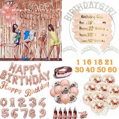 Rose Gold Number Happy Birthday Balloon Sash 16/18/21st/30/40/50/60th Decoration