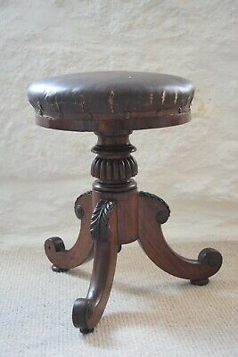 Antique Adjustable Piano Stool Early 19th Century Walnut & Leather, Wooden Screw