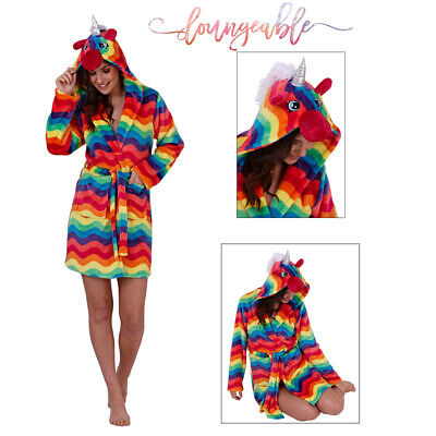 Loungeable Womens 3D Rainbow Unicorn  Robe Fleece Extra Soft Nightwear Hooded