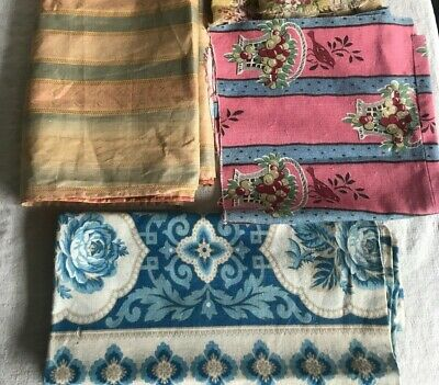 Antique French Fabrics Silk, Linen & Cotton Furnishing Remnants - projects 4pc