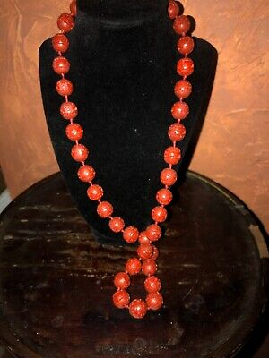 Chinese Carved Red Cinnabar 14- 15mm Bead Necklace Hand Knotted