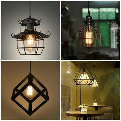 Iron Industrial Pendant Ceiling Light Fixture Lamp Shades Chandelier Home Bar