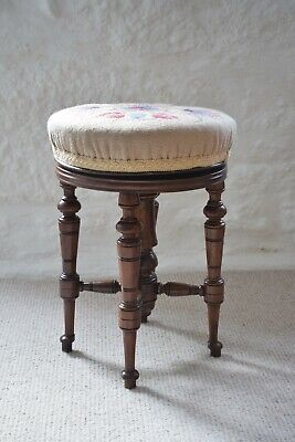 Antique Adjustable Piano Stool Victorian Floral Embroidered Seat Music Stool