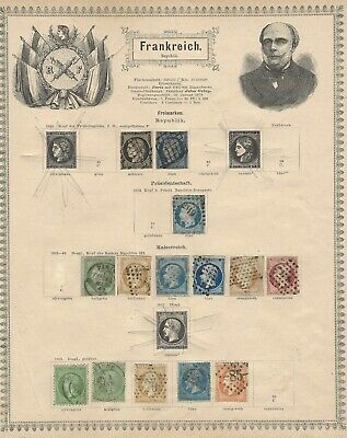 FRANCE collection early classic stamps to 5fr x2 **3x old album page** huge CV
