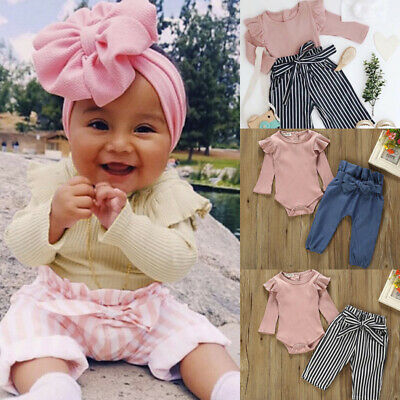 Newborn Infant Baby Girls Long Sleeve Tops Romper Pants Outfits Set Clothes T5