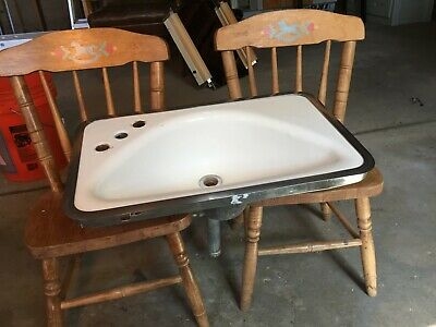 Vintage 1940's Cast Iron / Porcelain Sink 12X 20 with Original Stainless Trim