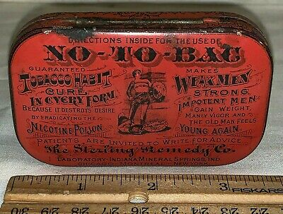 Antique No To Bac Tobacco Habit Cure Medicine Flat Pocket Tin Litho Can Remedy