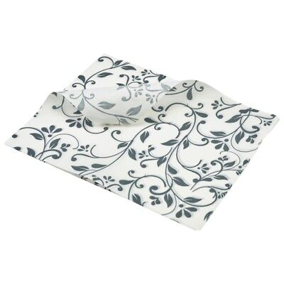 1000x Greaseproof Paper Sheets Grey Floral Print  25x20cm, Food Wrap chip basket