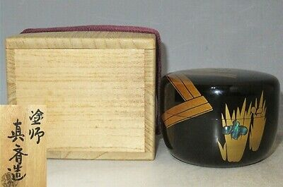 Japanese  lacquer  Wooden Raden Saikul work makie Natsume Tea caddy