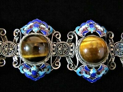 STUNNING Vintage Chinese Silver Filigree Enamel Tiger Eye Panel Bracelet
