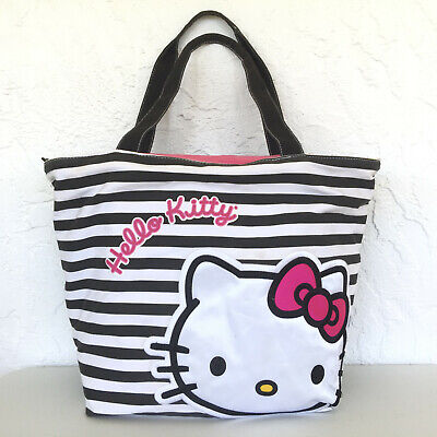 Sanrio FAB Hello Kitty Tote Bag Purse Striped Embroidery Detail Black White Rare
