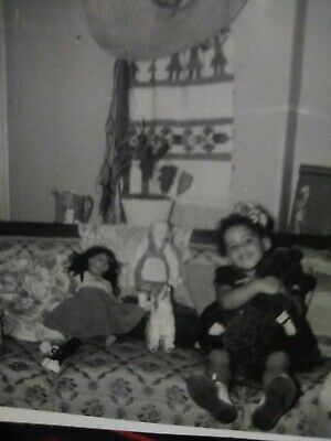 Rare Segregation African American little Girl with white an colored dolls