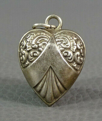 Victorian Scroll Ornate Sterling Silver Heart Pendant Chatelaine Watch Chain Fob