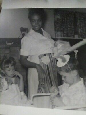 Rare Segregation African American Nanny with White kids at Birthday party
