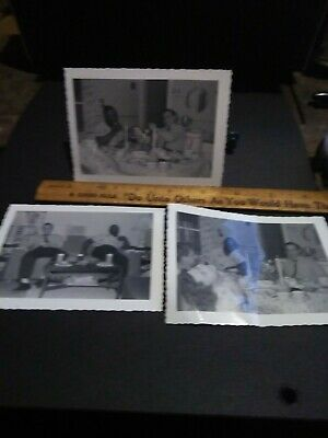 Rare Segregation African American Photo lot of 3 colored man with white family