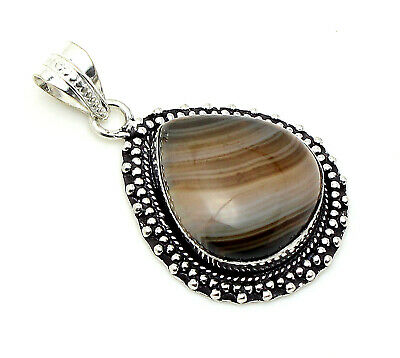 Lovely Quality Montama Agate Gemstone 925 Silver Jewelry Pendant Length 1.60""
