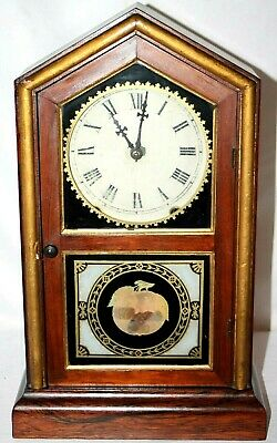 """Antique New Haven 1880'S """"Tuscan"""" Shelf Clock W/ Reverse Painted Glass & Gilding"""