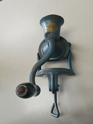 1920's MIMOSO #2 COFFEE GRINDER BLUE CAST IRON HAND CRANK MADE IN BRAZIL
