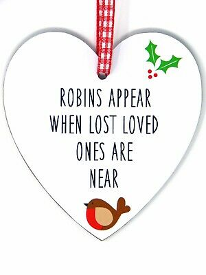 Robins Appear When Lost Loved Ones Are Near - Memorial Heart Plaque Decoration