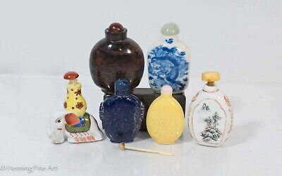 Set of 6 Antique / Vintage Chinese Snuff Bottles, Four Porcelain, Two Stone