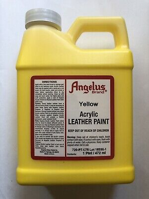 Angelus Brand Yellow Acrylic Leather Paint in 16oz