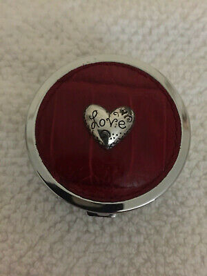 Brighton Love Beat Collection Pill Box Red Leather Silver Heart Preowned