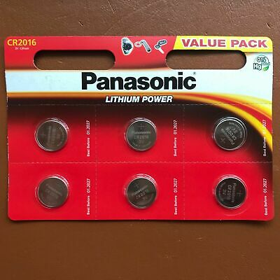 6 x Panasonic Coin Cell CR2016 3V Lithium Battery cell Brand New