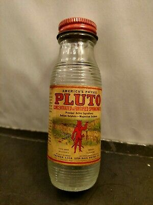 Antique Clear Glass Advertising Bottle Pluto Water Laxative Red Devil Label /Cap