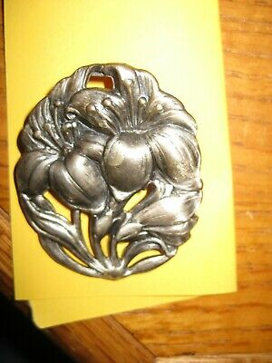 Vintage Art Nouveau Silver plate Lily St. Anthony with Child Jesus Brooch/Pin