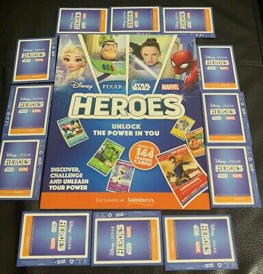Sainsburys Heroes Collectors 2 Albums & 20PACKS of Collecter Cards Marvel/Disney