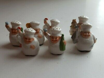 Vintage 7 Miniature Chef's with Rooster, Spoon, Bottle, Fish  Salts  Germany