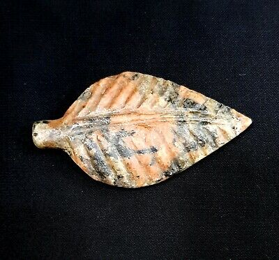 Very Amazing Egyptian Antiquities Amulet Unique leaf Figurine Granite Faience