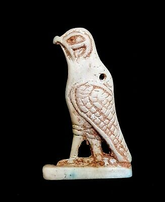 Horus Ra Bead Amulet Necklace Chain  Egyptian Antiques Falcon Figurine Very Rare