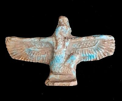 Winged Isis Egyptian Antique Necklace Ancient Stone Royal Figurine Amulet Charm