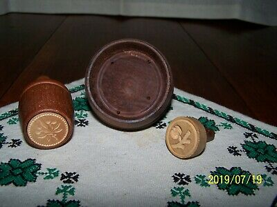 3 Vintage Handmade Wooden Molds Miniature Butter, Biscuit Cutter, Cookie Stamp